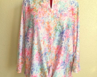 Vintage BRUSH STROKE Floral Blouse -