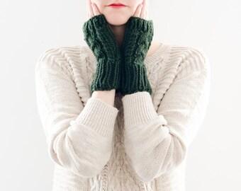 Knit Winter Fingerless Gloves, Cable Knitted Fingerless Mittens, Dark Green Wool Winter Gloves