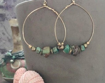 "TURQUOISE Gold Hoops wire wrapped with turquoise. 2"" DIAMETER. Brass Details. 18c Gold ear wire."