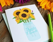 Thanks a bunch, Set of FOUR Floral Folded Note Cards, Stationery, Hand Drawn, Illustration, Flowers, Sunflower, Mason Jar,  Notecards