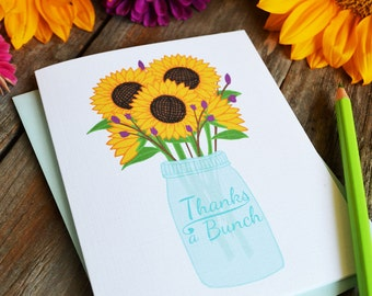 Thanks a bunch, Thank you card, Floral Folded Note Cards, Stationery, Hand Drawn, Illustration, Flowers, Sunflower, Mason Jar,  Notecards