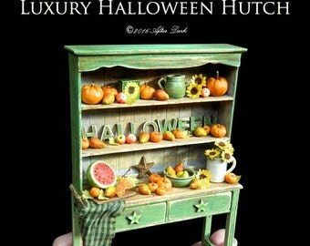 Rustic Luxury Halloween Pumpkin & Fruit Hutch - Artisan fully Handmade Miniature Dollhouse Food in 12th scale.