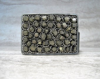 Pyrite Buckle with Silver Beading-Unisex Belt Buckle with faceted Pyrite Nugget Stones (also in Turquoise)