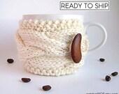 Coffee Cozy, Tea Cozy, Coffee Mug Cozy, Coffee Cup Cozy, Coffee Cup Sleeve, Coffee Sleeve, Knit Cup Cozy, Coffee Coozie, White Coffee Mug