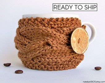 Coffee Sleeve, Coffee Decor, Tea Cozy, Coffee Mug Cozy, Coffee Cup Cozy, Coffee Cup Sleeve, Mug Sweater, Mug Warmer, Coffee Cozy Chunky Knit