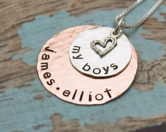 My Boys My Girls Silver and Copper Mommy Mother Grandmother Personalized Necklace Hand Stamped Jewelry