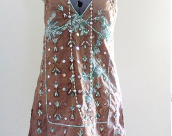 hand embroidered clothing, hand embellished top, wearable art, sequin top, resort wear, resort clothing, holiday wear, applique top