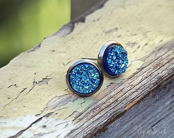 Faux Druzy Earrings, 8mm Iridescent Blue Glitter Studs - on Stainless Steel Posts