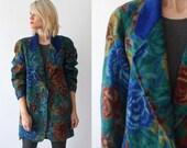 80s KENZO wool jacket. oversized floral jacket. tapestry coat. designer jacket - medium