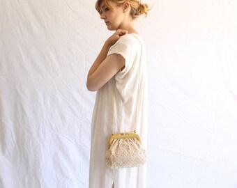 vintage linen crochet bag 70s made in italy victorian
