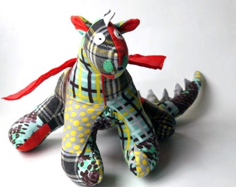 "Stuffed Animal Dragon Toy 10"" tall, 22"" wide in aqua, gray, yellow, teal, white and red patchwork Flannel Fabric, Baby Friendly Toy"