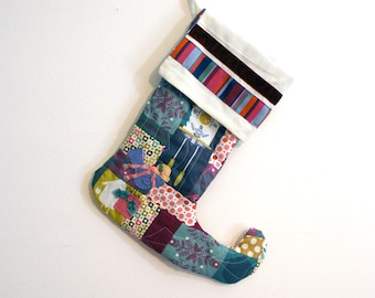 Patchwork Quilted Christmas Stocking in teal, plum, pink, mustard, gold, fuchsia and cream with Handmade Felt Bird Embellishments