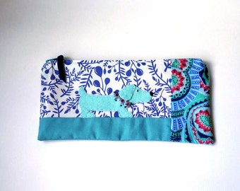 "Zipper Pouch, 4.5x9.25"" in blue, aqua, teal, pink and white berry print fabric with Handmade Felt Dog Embellishment, Dachshund Pencil Case"