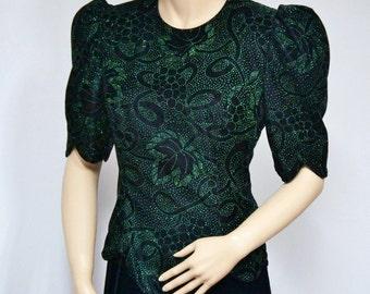 Vintage Dress Velvet Dress 1980's Dress Scott McClintock Velvet Glitter Dress Black and Green Size 10