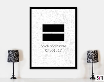 Equality Human Rights Sign GuestBook  For weddings. Wedding Guestbook Love Wins Guestbook  Love Equals Love Guestbook Wedding Poster LGBTQA