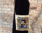 Handmade Small Evening Bag,, Cross Body Bag, Shoulder Bag, Embroidered Silk, Gold, Embroidered Bird, Gold Chain Strap, Sling Bag,  Silk Bag