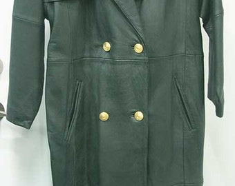 Vintage Dark Green Leather Trench Coat, for Steampunk Somewhat 'Aged', Cosplay Costume, M