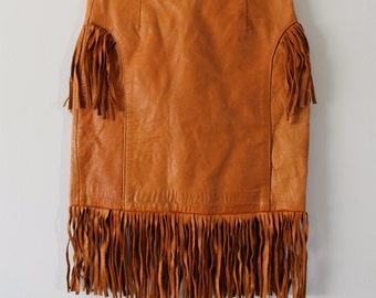 Vintage 70s GIRLS High Waist FRINGE Leather Skirt