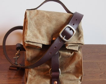Field Tan Waxed Canvas, Cordura, and Leather Reusable Insulated Lunch Bag with Adjustable Leather Shoulder Strap
