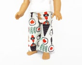 Doll Pajama Pants, 18 Inch Doll Clothes, Sushi pajama pants, Doll Clothing