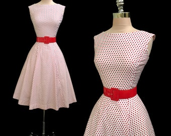 Vintage 1950s 1960s Red and White Polka Dot Polished Cotton Full Skirt Summer Dress S