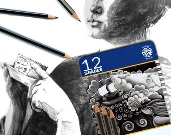 Drawing Pencils, pencil set, Artist Gift, sketch pencils, sketching tools, fine art supplies, drawing kit, drawing tools, drawing media,