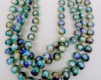 """Watercolor Serinty Blue String Of Pearls Hand Painted 52"""" Necklace Choker Beach Blue Sunset Golds Purples Abstract Designs Vintage Artisan"""