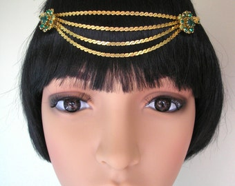Great Gatsby Headpiece, Art Deco Headband, Emerald Band, Head Chain, Rhinestone, Peridot, Wedding Hair Accessory, Vintage Art Deco Headpiece
