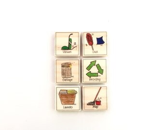 Cleaning Up Chore Magnet Set of 6 - Chore Chart Magnets
