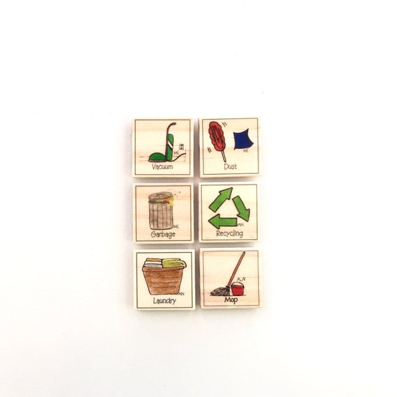 Cleaning Up - Chore Magnet Set of 6 - Chore Chart Magnets