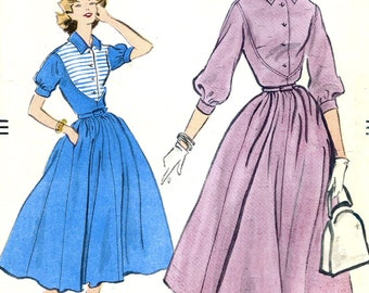 UNCUT *  1950's Vogue Pattern 9085  - Beautiful  Ladies One Piece Dress Bosom Yoke Full Skirts  - Size 12 * Bust 32
