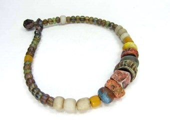 SALE Textured Bead Ethnic Style Bracelet, Glass and Ceramic Bead Bracelet - Handmade Artisan Ceramic Jewellery No. 67
