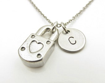 Lock Necklace, Padlock Necklace, Heart Shaped Lock, Personalized, Initial Necklace, Stainless Steel Lock Charm, Stamped Initial Letter Y295