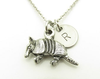 Armadillo Necklace, Armadillo Charm Necklace, Antique Silver Armadillo, Personalized, Initial Necklace, Stamped Monogram, Animal Charms Y214
