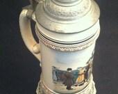 Antique Beer Stein Reinhold Merkelbach Lidded German Beer Stein Trains, Soldiers, Woman, Children 5 Liters **USA ONLY***
