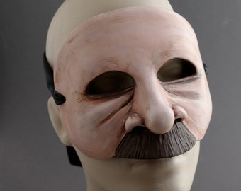 OOAK Handmade Mustachioed Man Wall Mask for Halloween, Masquerade, Ren Faire - One of a Kind