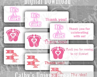 Baby Girl Baby Shower Thank you Labels It's a Girl labels Pink Baby Feet Printable Letter PDF INSTANT digital download DIY address labels
