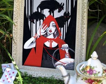 8x10 RED- Little Red Riding Hood Fine Art Print