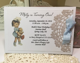 Teddy Bear Party Invitation, Baby Girl Vintage Style, Baby Shower Invitation Teddy Bear Party Birthday Party Invitation
