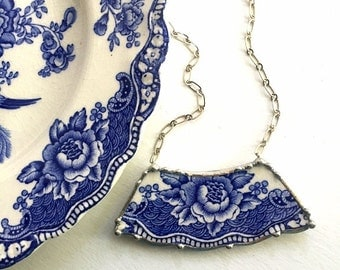 Ecofriendly recycled china, broken china jewelry necklace vintage English blue transferware china made from broken plate