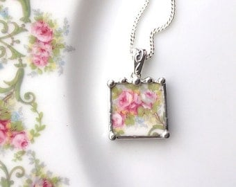 Broken china jewelry pendant necklace pink roses made from a broken plate
