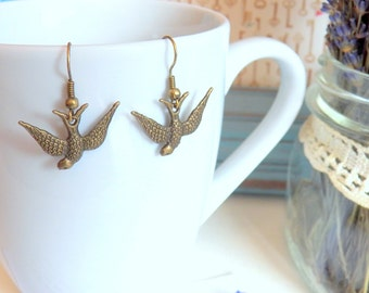 ON SALE - Loveable Diving Bird - Earrings - Antique Gold Brass Bird Charms, Dangle From Brass Ear Wires, Keepsake Jewelry Gifts by HoneyNest