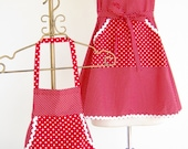 Specail order for Cheryl!      Mommy and Me Apron Set - Red and White polka-dots with rick-rack trim.