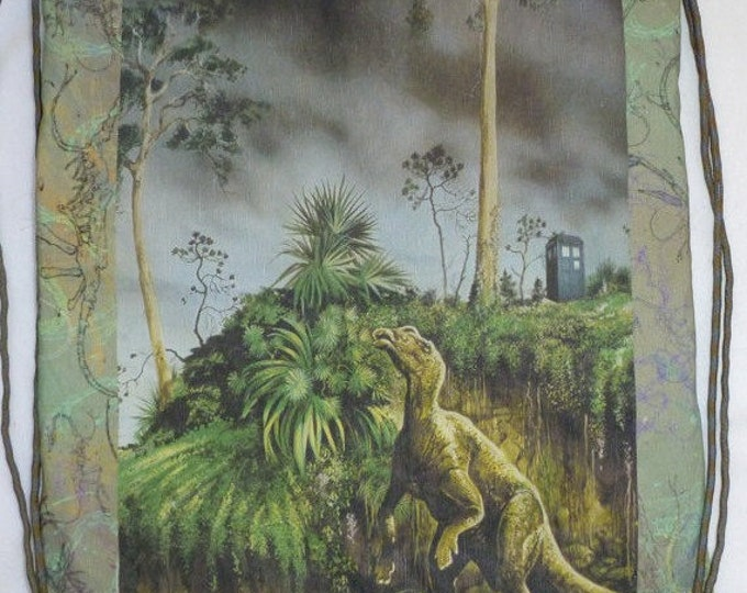 Kritosaurus Sees a Phone booth cotton-linen canvas backpack/tote Custom Print made to order