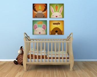 Choose any 4 DREAM CREATURES Stretched CANVAS Baby Nursery wall art signed