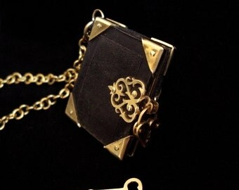 Black Leather and Gold Brass Book Locket Necklace with Heart Padlock and Key - BOOK OF SECRETS