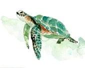 Sea turtle watercolor painting, sea turtle painting, sea life watercolor, nursery decor, original painting, marine, nautical, coastal art