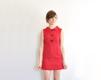 mod micro mini red dress . button down 1960 scooter frock .extra small.xs