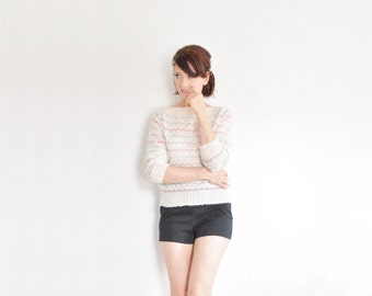 dainty scallop striped sweater . unicorn club attire oh for sure .medium