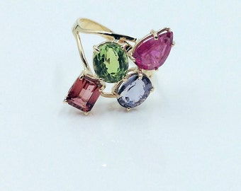 Tourmaline Ring, Mulitcolor Stone Ring, Gemstone Ring, Stone Ring, Purple Tourmaline, 14K Gold Stone Ring, 950. Appraisal Included